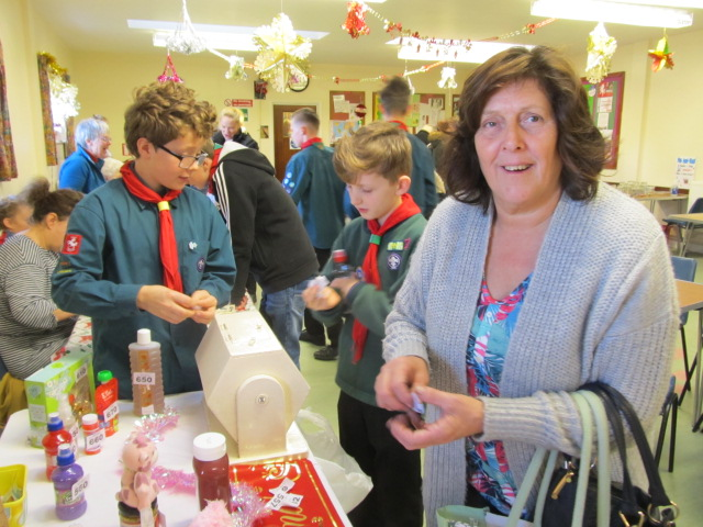 Scout Supporter Sue winning on the Bottle Tombola